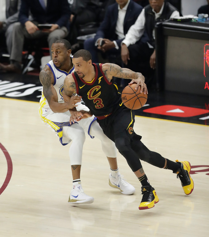 . Cleveland Cavaliers\' George Hill in action in the first half of Game 4 of basketball\'s NBA Finals against the Golden State Warriors, Friday, June 8, 2018, in Cleveland. (AP Photo/Tony Dejak)