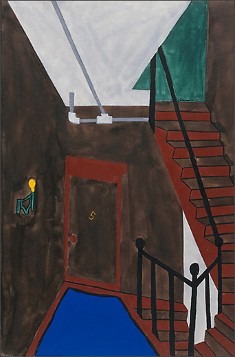 """Jacob Lawrence, """"Harlem Series: They live in old and dirty tenement houses"""" (1943)"""
