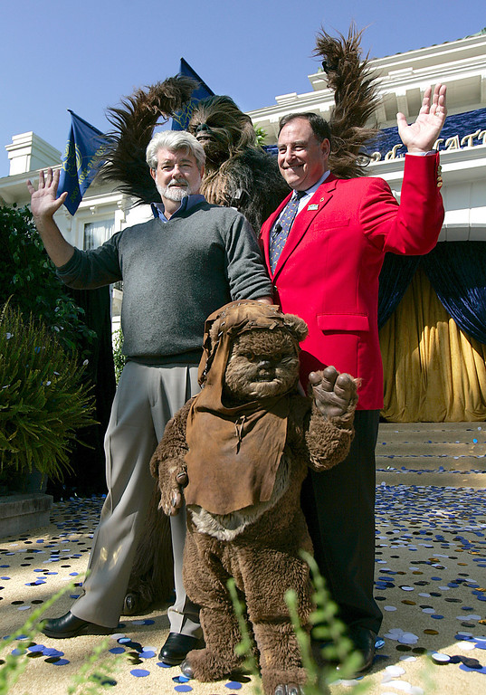 . Cinematographer George Lucas has been selected as the Grand Marshal for the 2007 Tournament of Roses.  Above, Lucas, left, is shown with TOR president Paul L. Holman, Chewbacca and Wicket the Ewok on Tuesday Sept. 19, 2006, at the Tournament House in Pasadena.  (Raul Roa/Pasadena Star News)