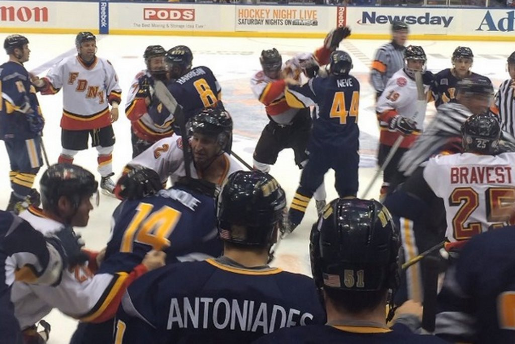 ". <p>10. (tie) NYPD-FDNY HOCKEY BRAWL <p>Their first response, apparently, was to use their fists. (unranked) <p><b><a href=\'http://nypost.com/2014/04/06/nypd-fdny-get-into-massive-brawl-at-charity-hockey-game/\' target=""_blank\""> HUH?</a></b> <p>    (Photo from Instagram)"