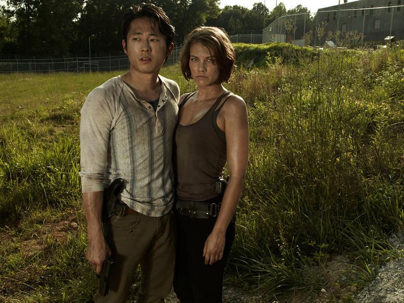 . Glenn (Steven Yeun) and Maggie Greene (Lauren Cohan) - The Walking Dead - PHoto Credit: Frank Ockenfels/AMC