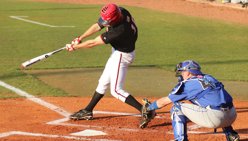Benji Jackson hits a foul ball in GWU's match against the Bulldogs of UNC-Asheville on March 18th.