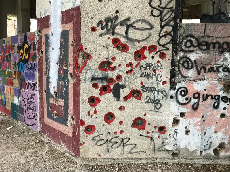 street art on Mostar's war remains