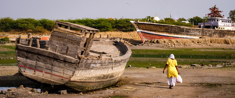Boat building at Mandvi Beach,  Gujarat, India