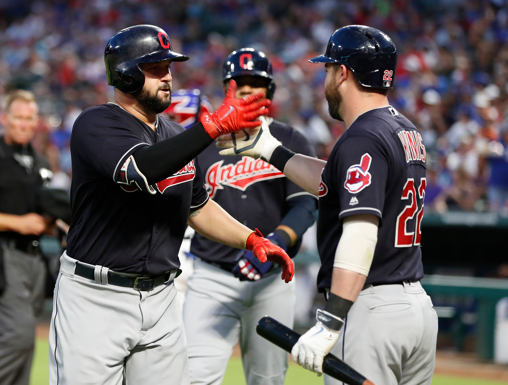 . Cleveland Indians\' Yonder Alonso, left, celebrates his two-run home run with Jason Kipnis during the fifth inning of a baseball game against the Texas Rangers, Saturday, July 21, 2018, in Arlington, Texas. (AP Photo/Jim Cowsert)