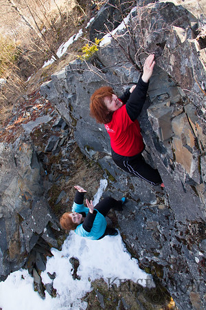 Mom & Elisa Bird Creek Bouldering 04/06/13