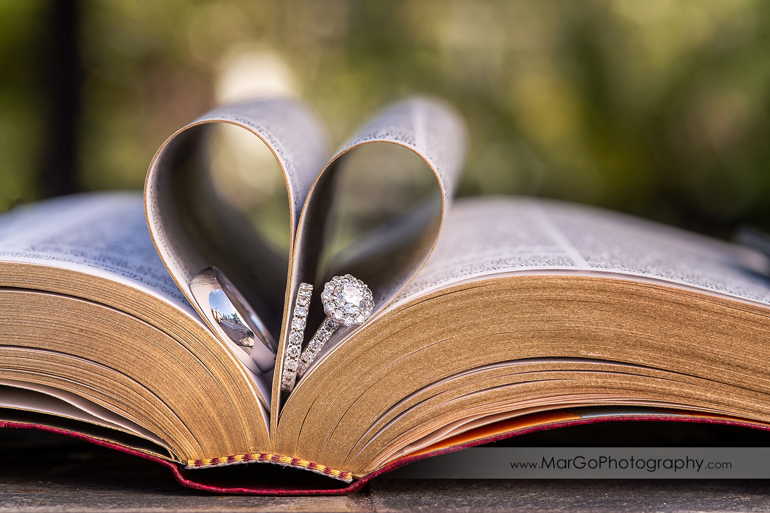 wedding rings in Bible heart shape pages