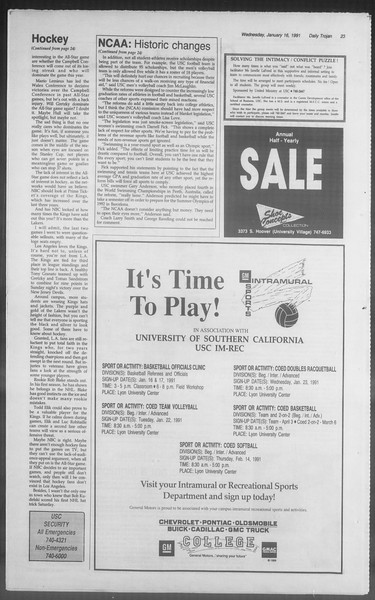 Daily Trojan, Vol. 114, No. 6, January 16, 1991