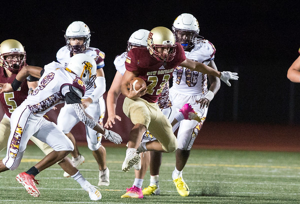 09/13/19 Wesley Bunnell | StaffrrNew Britain football was defeated at home by South Windsor on Friday night. Jhorman Velma (23).