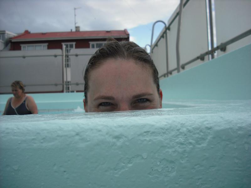 The Attache in the hot tub!