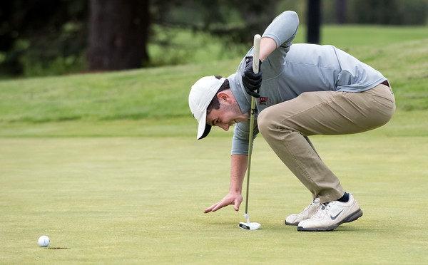 05/10/18 Wesley Bunnell | Staff New Britain golf defeated Bristol Eastern 212-219 at Stanley Golf Course on Thursday afternoon. New Britain's Tim Carrier reacts as his putt stops on the lip of the hole.