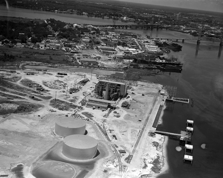 Aerial view overlooking construction of the Jacksonville Electric Authority Southside Generating Station in 1948.