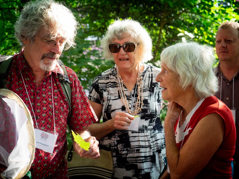 Jeff confers with Ruth Yarrow, who worked as a naturalist for many years.