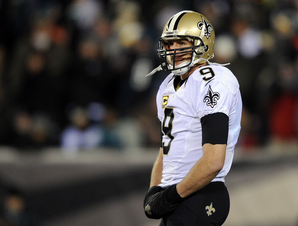. PHILADELPHIA, PA - JANUARY 04:  Drew Brees #9 of the New Orleans Saints looks on against the Philadelphia Eagles during their NFC Wild Card Playoff game at Lincoln Financial Field on January 4, 2014 in Philadelphia, Pennsylvania.  (Photo by Maddie Meyer/Getty Images)