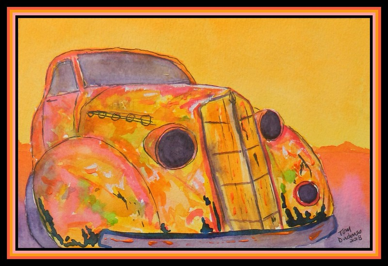1-1935 Plymouth Coupe, 6x9, watercolor, acrylic & ink, june 19, 2018.