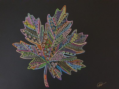 """Maple leaf. Symbol of the Union of kindred spirits.""  (marker and colored pencil on watercolor paper) by Lyudmila Abramova"