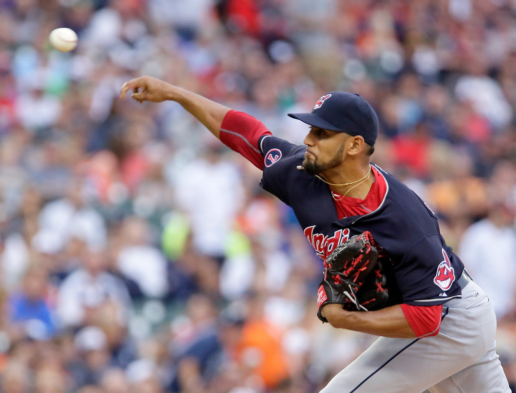 . Cleveland Indians\' Danny Salazar pitches against the Detroit Tigers during the first inning of a baseball game Friday, June 12, 2015, in Detroit. (AP Photo/Duane Burleson)
