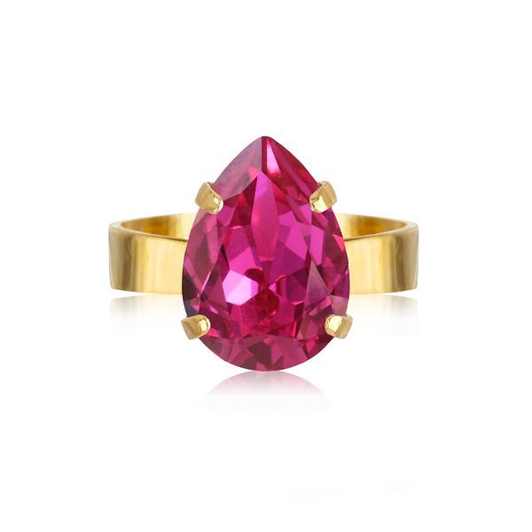 Mini Drop Ring / Fuchsia Gold