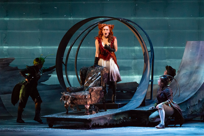 """L to R: Rachel Kay as the Grasshopper, Joanna Latini as the Vixen and Michelle Arotsky as the Cricket in The Glimmerglass Festival's 2018 production of Janáček's """"The Cunning Little Vixen."""" Photo: Connor Lange/The Glimmerglass Festival"""