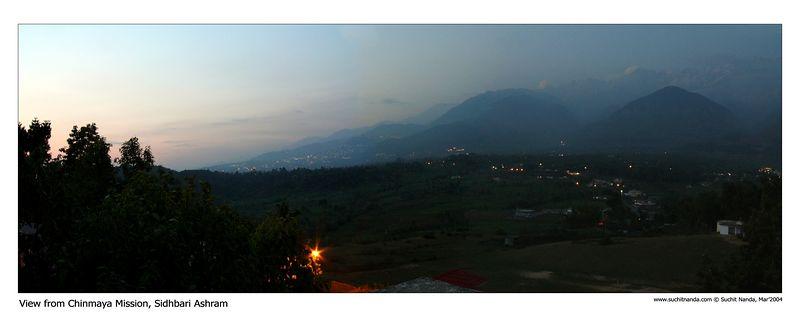 Panoramic image of Himalayas taken from Chinmaya Mission's Tapovan Ashram, Siddhbari, HP, India