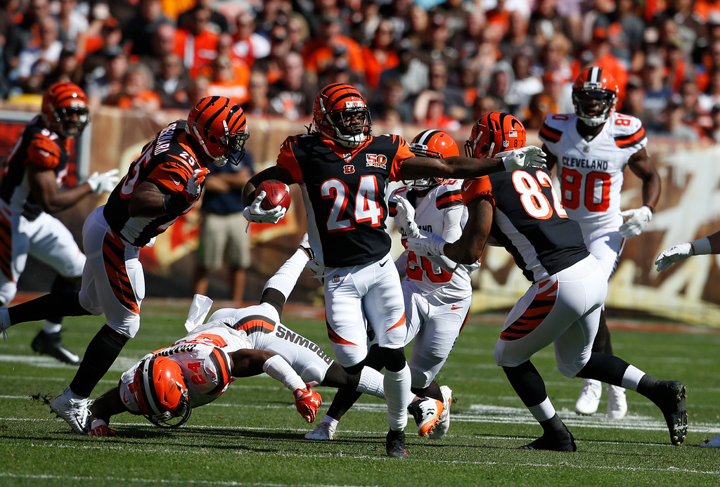 . Cincinnati Bengals cornerback Adam Jones (24) returns a punt in the first half of an NFL football game against the Cleveland Browns, Sunday, Oct. 1, 2017, in Cleveland. (AP Photo/Ron Schwane)