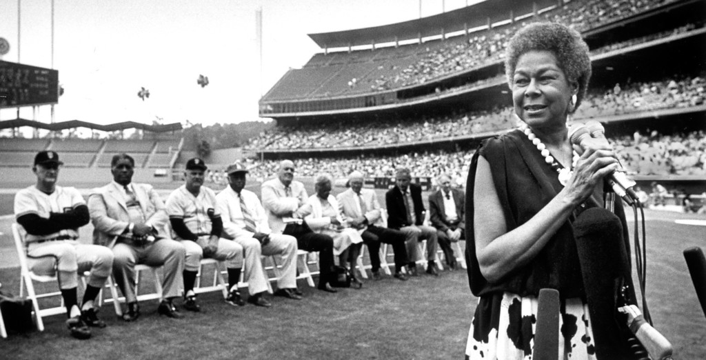 . 1987: Rachel Robinson, the widow of major-league baseball\'s first black player, Jackie Robinson, addresses the crowd at Dodger Stadium.  (Los Angeles Daily News file photo)