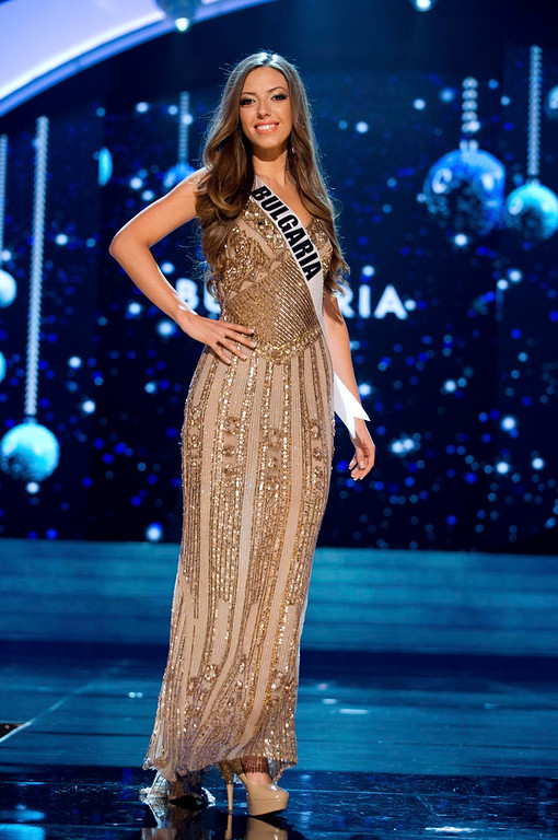 . Miss Bulgaria Zhana Yaneva competes in an evening gown of her choice during the Evening Gown Competition of the 2012 Miss Universe Presentation Show at PH Live in Las Vegas, Nevada December 13, 2012. The 89 Miss Universe Contestants will compete for the Diamond Nexus Crown on December 19, 2012. REUTERS/Darren Decker/Miss Universe Organization/Handout