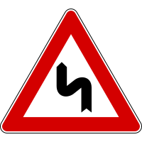 Italian Road Sign Double Bend