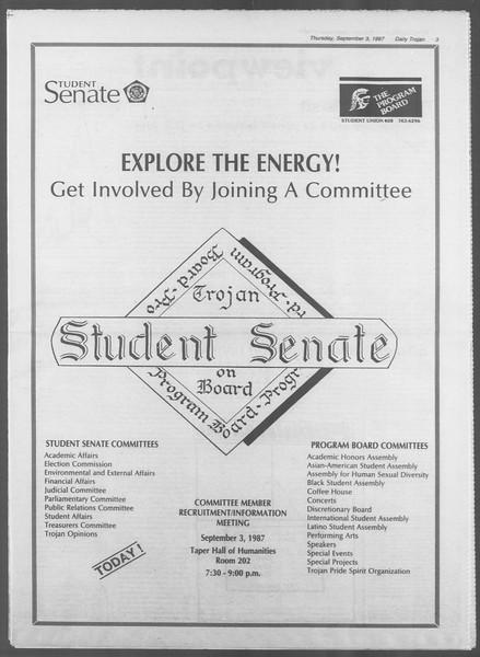 Daily Trojan, Vol. 105, No. 3, September 03, 1987