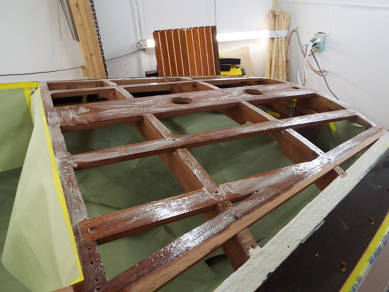 Rear deck battens with epoxy applied ready for the plywood skin.
