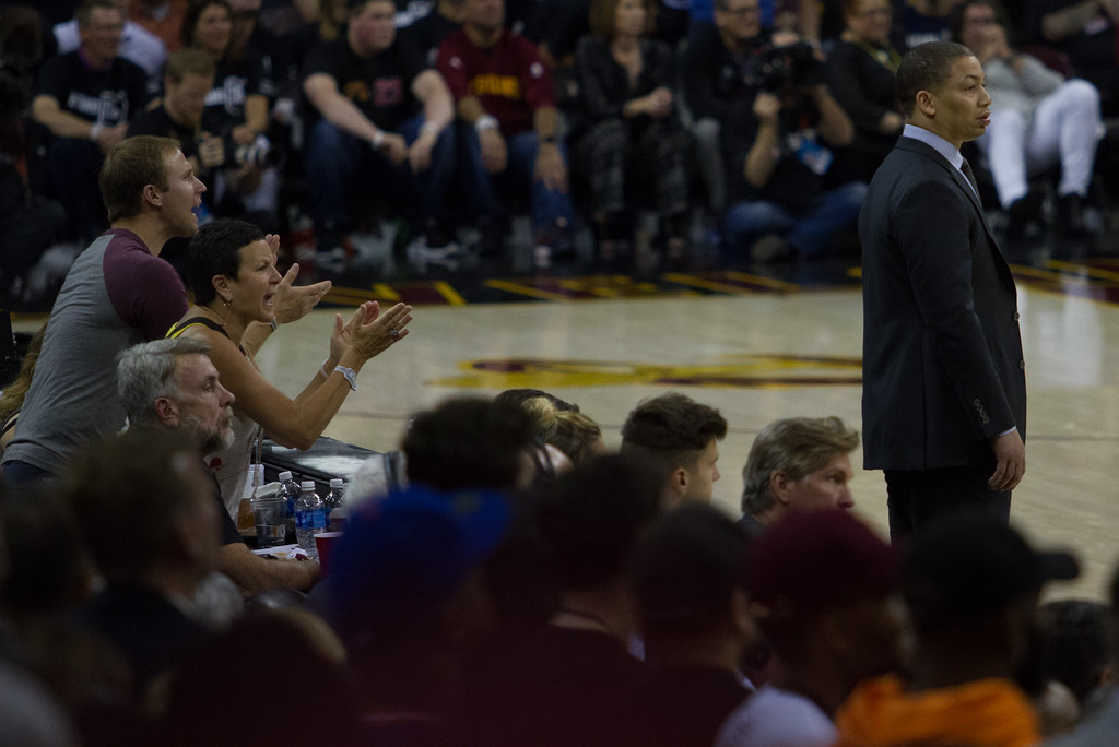 . Fans cheer on the Cleveland Cavaliers and head coach Tyronn Lue during game 4 of the NBA Finals against the Golden State Warriors at the Quicken Loans Arena on June 10, 2017.  The Cavs defeated the Warriors 137-116.
