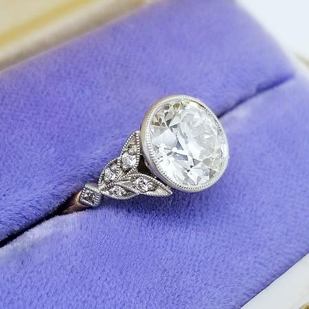 "2.94ct Old European Cut Diamond in LAD ""Artemis"" Solitaire - GIA K VS1/AGS J VS1"