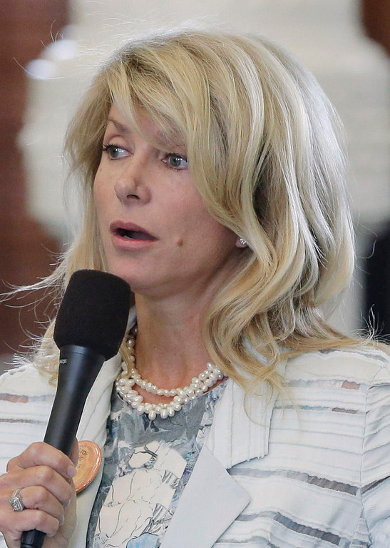 . Sen. Wendy Davis, D-Fort Worth, speaks as she begins a filibuster in an effort to kill an abortion bill, Tuesday, June 25, 2013, in Austin, Texas. The bill would ban abortion after 20 weeks of pregnancy and force many clinics that perform the procedure to upgrade their facilities and be classified as ambulatory surgical centers.  (AP Photo/Eric Gay)