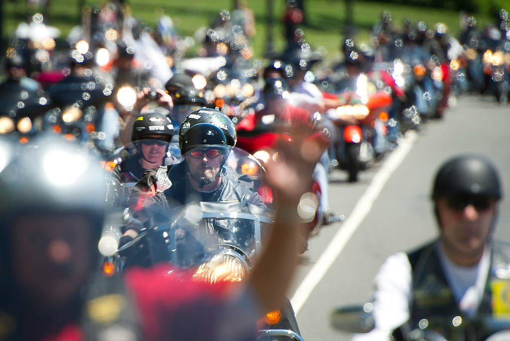 . Motorcyclists ride their bikes during Rolling Thunder 2013 in Washington, DC, on May 26, 2013. The 26th Annual Rolling Thunder rumbled into he US capital to show support for veterans and those who have fallen in past and present wars. Some one million riders are expected to gather in Washington DC during the Memorial Day weekend.   MLADEN ANTONOV/AFP/Getty Images