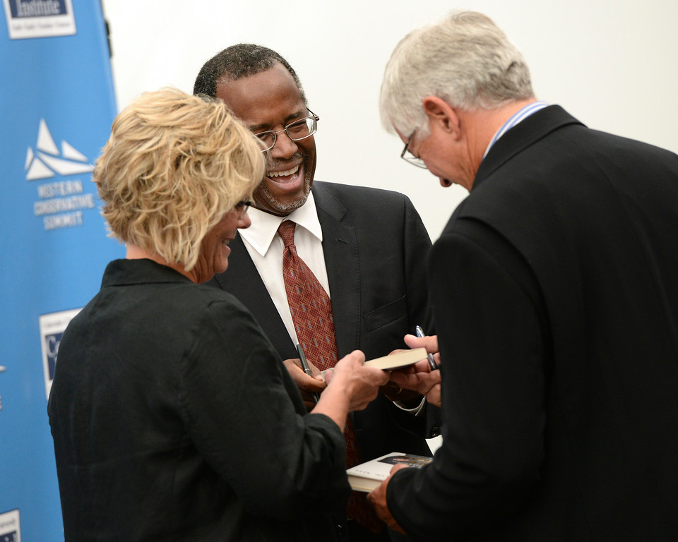 . DENVER, CO - JULY 18: Dr. Ben Carson signed copies of his book as the Western Conservative Summit kicked off Friday night, July 18, 2014 in Denver. The weekend gathering of conservative voters heard remarks from Jindal, Utah Senator Mike Lee and Dr. Ben Carson Friday night. Photo by Karl Gehring/The Denver Post