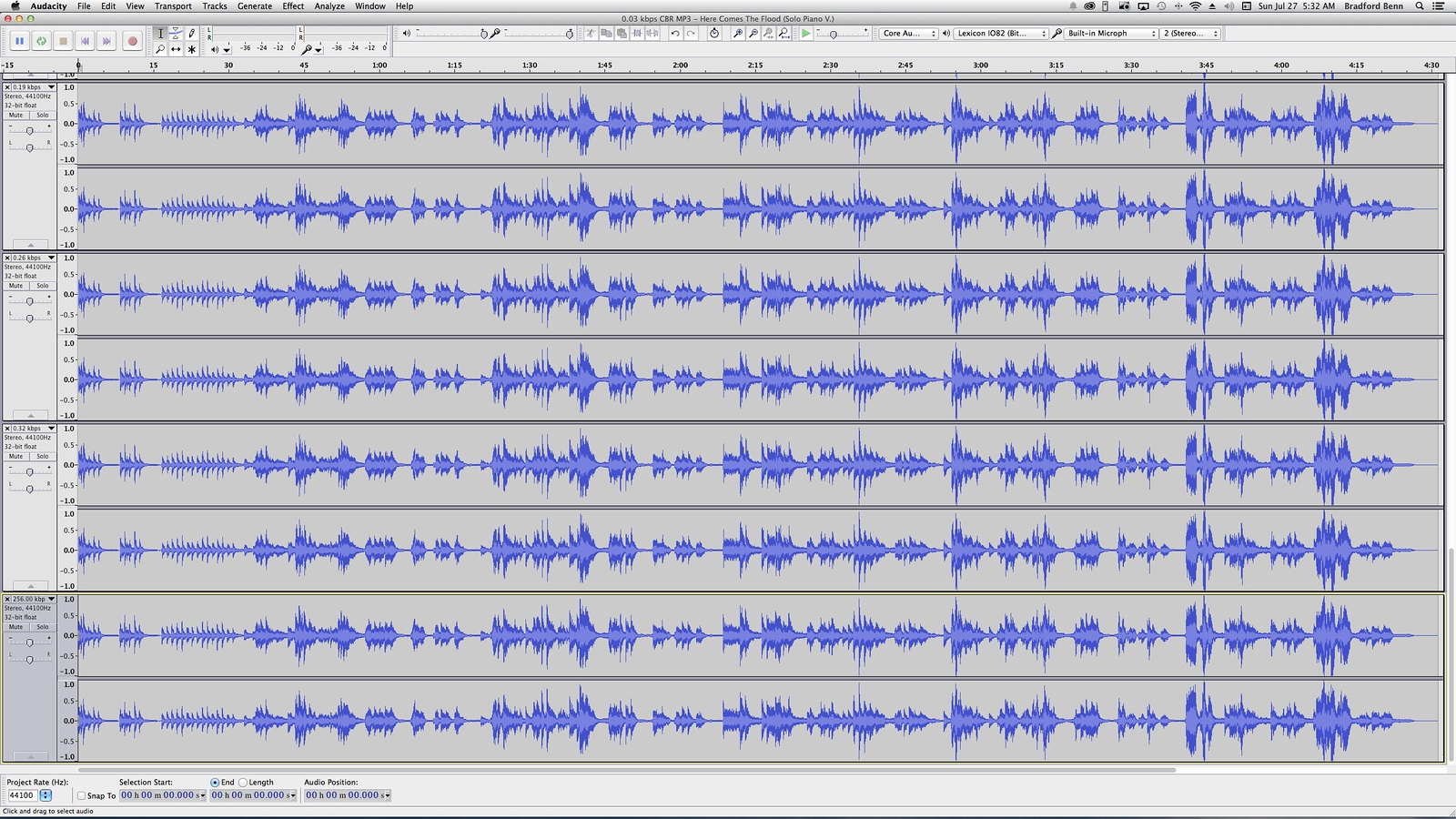 This image shows the way multiple tracks were stacked and then individually soloed in Audacity