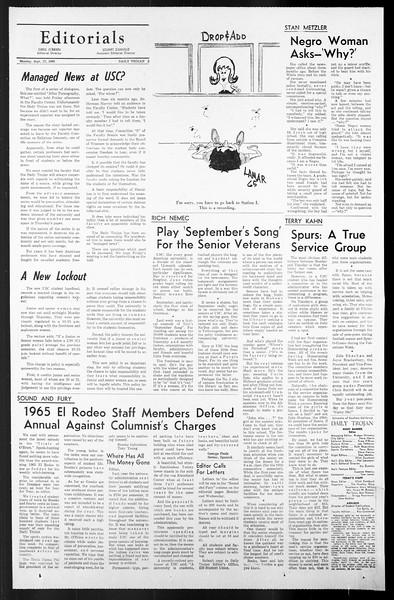 Daily Trojan, Vol. 57, No. 6, September 27, 1965