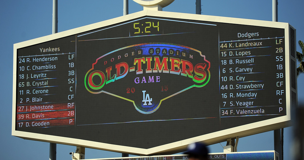 . during the Old-Timers game prior to a baseball game between the Atlanta Braves and the Los Angeles Dodgers on Saturday, June 8, 2013 in Los Angeles. 