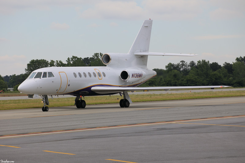 Dassault Aviation Mystere-Falcon 50   c/n 311   N136MV  of Transnet Aviation Group LLC taxiing in after a flight from McGhee Tyson (KTYS) KPDK, Dekalb GA, 05/29/2021, This work is licensed under a Creative Commons Attribution- NonCommercial 4.0 International License.