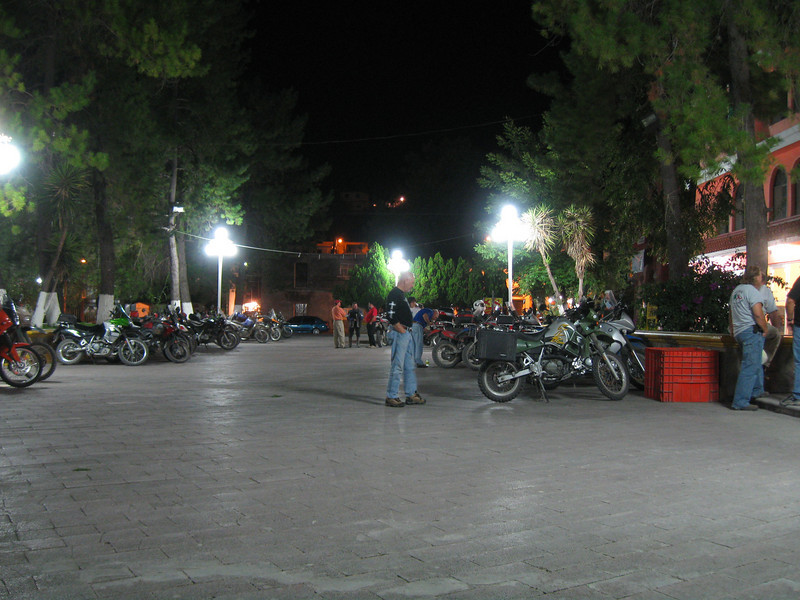Galeana plaza.  We were allowed to park our bikes on the plaza overnight.