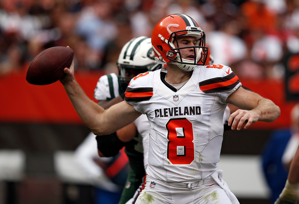 . Cleveland Browns quarterback Kevin Hogan passes during the second half of an NFL football game against the New York Jets, Sunday, Oct. 8, 2017, in Cleveland. (AP Photo/Ron Schwane)
