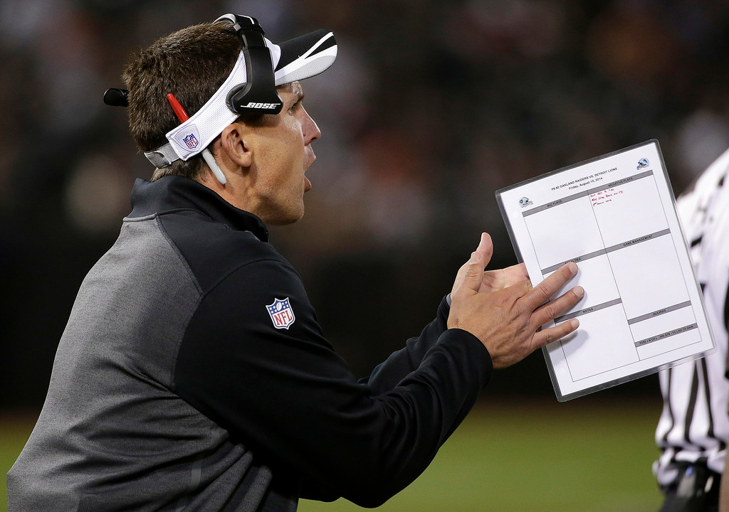 . Oakland Raiders head coach Dennis Allen yells from the sideline during the third quarter of an NFL preseason football game against the Detroit Lions in Oakland, Calif., Friday, Aug. 15, 2014. (AP Photo/Marcio Jose Sanchez)