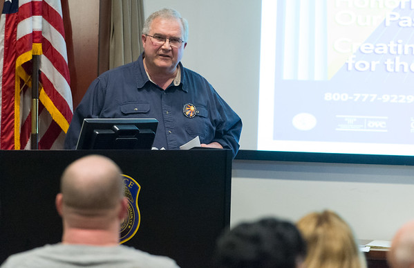 04/08/19 Wesley Bunnell   Staff John Aberg, Survivor of homicide - Co-Facilitator of a New London based support group speaks to the audience during a ceremony commemorating this week as National Crime Victim's Rights Week. The event took place at the New Britain Police Station on Monday afternoon.