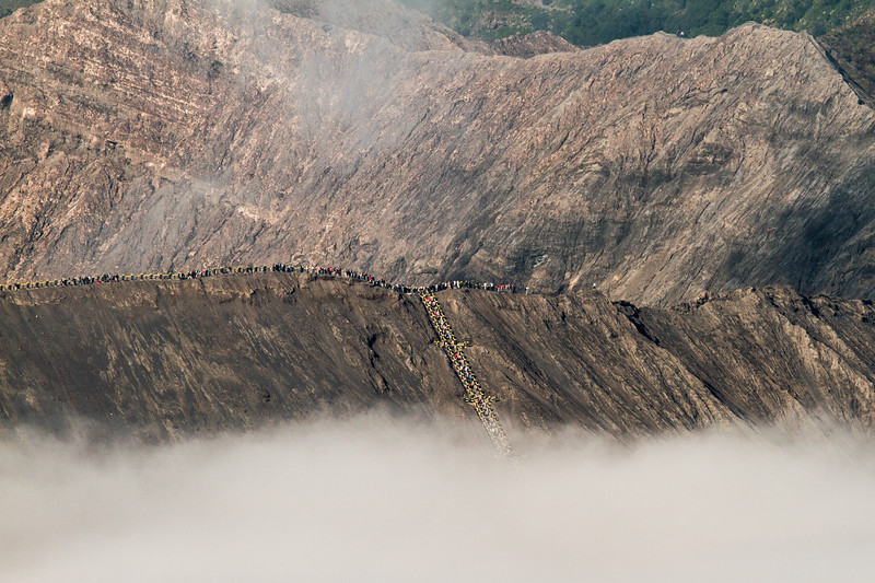 People gather at the rim of Mount Bromo