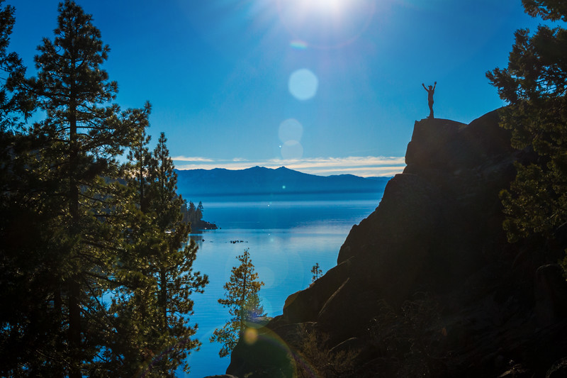 Joyful Man overlooking Lake Tahoe