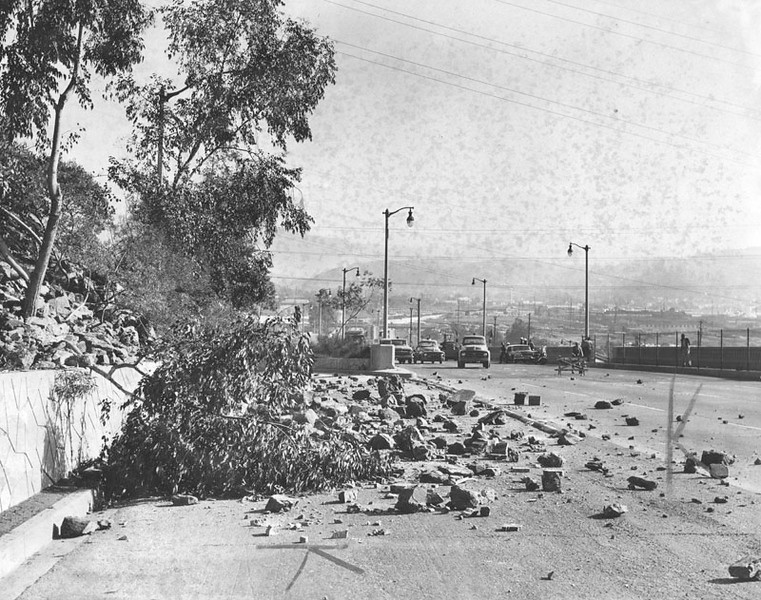 1958, Rockslide Closes Freeway