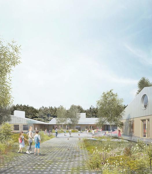 Perspective extérieure - Pelletier de Fontenay + Leclerc architecte - Lauréat Lab-École - Shefford