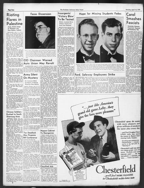 Daily Trojan, Vol. 29, No. 117, April 18, 1938