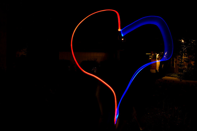 Red and blue heart light painted by Jenn and James