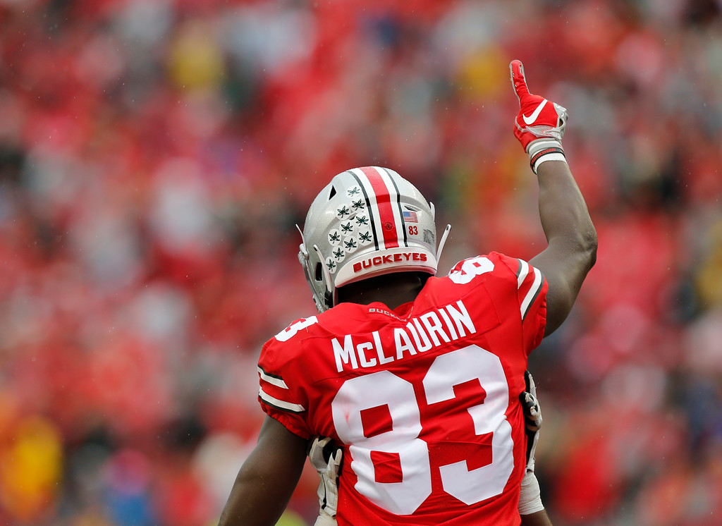 . Ohio State receiver Terry McLaurin celebrates his touchdown against Rutgers during the first half of an NCAA college football game Saturday, Sept. 8, 2018, in Columbus, Ohio. (AP Photo/Jay LaPrete)